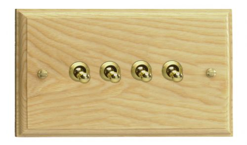 Varilight XKT9A Kilnwood Ash 4 Gang 10A 1 or 2 Way Toggle Light Switch